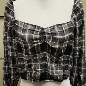 Wild Fable Women's Plaid Puff Ruched Front Cropped